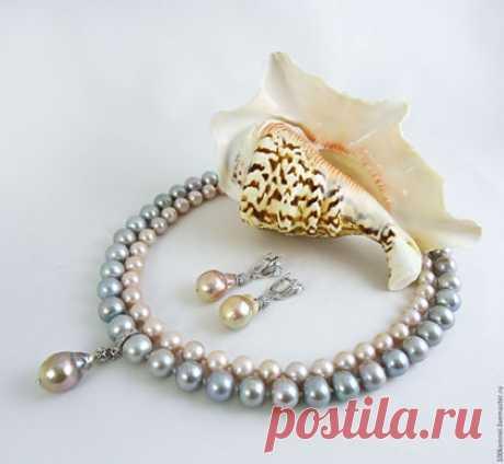 """Купить Комплект """"Полонез"""", классический жемчуг - серебряный, розовый, серебристый жемчуг, серый жемчуг"""