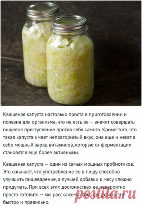 Как сделать идеальную квашеную капусту?   Квашеная капуста настолько проста в приготовлении и полезна для организма, что не есть ее — значит совершать пищевое преступление против себя самого. Кроме того, что такая капуста имеет неповторимый вкус, она еще и несет в себе мощный заряд витаминов, которые от ферментации становятся еще более активными.  Квашеная капуста — один из самых мощных пробиотиков. Это означает, что употребление ее в пищу способно улучшить пищеварение, а ...
