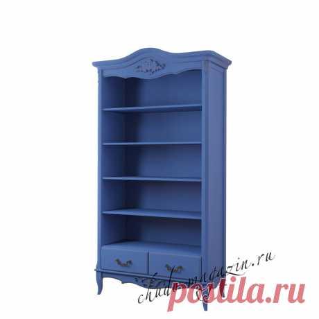 Открытый синий стеллаж для книг