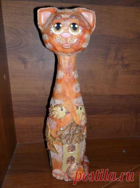 Декоративный интерьерный кот из соленого теста