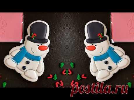 Пряник новогодний «Снеговик в шляпе» роспись глазурью [мастер-класс]