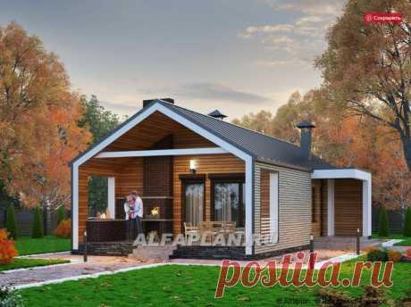 Проект одноэтажного дома в стиле барнхаус 1020В «Тета», 81 м2, 2 спальни | Популярные проекты домов Альфаплан | Яндекс Дзен