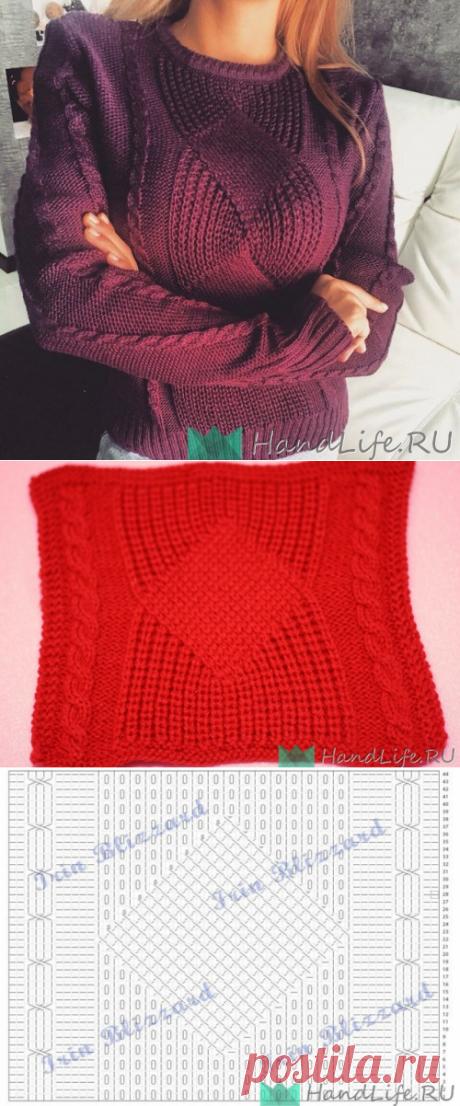 Пуловер спицами красивым узором / Вязание