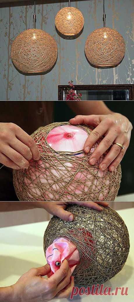 Люстра своими руками. Мастер класс по изготовлении люстры из веревки и мяча