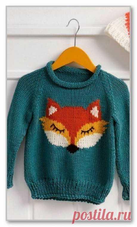 Очаровательный пуловер, вяжем детям