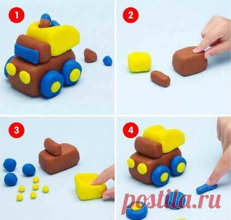 Транспорт из пластилина. Пошаговые уроки для детей 4-6 лет