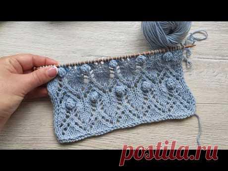 Ажурный узор с шишечками 🥜 Lace stitches with Bobble
