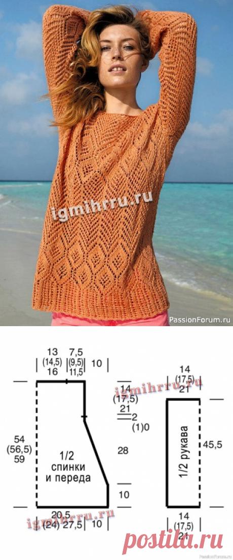 Ажурный пуловер спицами | Вязание для женщин спицами. Схемы вязания спицами