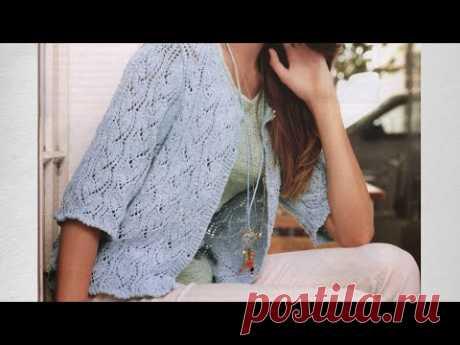Красивый Стильный Ажурный жакет спицами/ МК Узор оригинальные листья / Схема