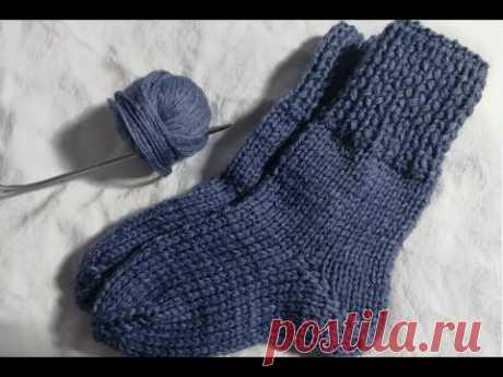 Простые детские носки на двух спицах  Быстро и легко!