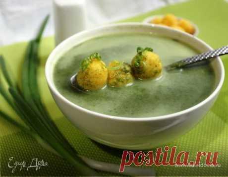 Суп из шпината с сырными шариками. Ингредиенты: вода, сыр плавленый,