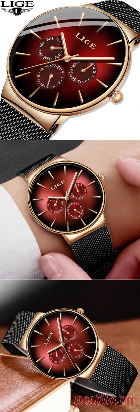 LIGE новые модные мужские часы Топ бренд Роскошные Кварцевые часы мужские сетчатые стальные водонепроницаемые ультра-тонкие наручные часы для мужчин спортивные часы