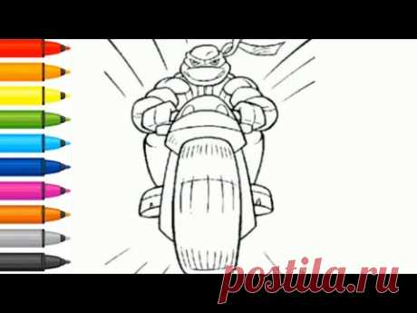 Coloring - How to draw a Teenage Ninja on a motorcycle