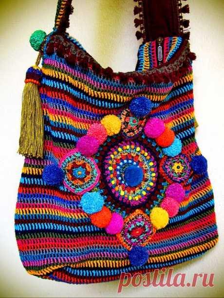 (2) ~ Красочные crohet мешок ~   крючком   Вязание крючком сумки, Сумки крючком и