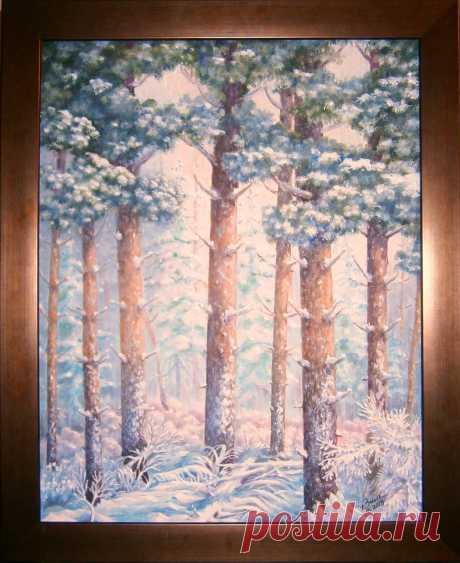 Морозный лес  х/м 50х60
