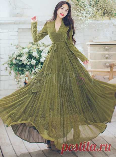 Dresses   Maxi Dresses   Elegant V-neck Long Sleeve Belted Big Hem Maxi Dress