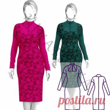 Выкройка трикотажного платья со стойкой WD180220   Шкатулка