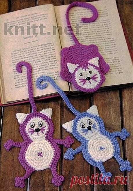 Вязаные крючком Коты-закладки | knitt.net | Все о вязании