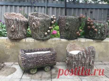Декоративный горшок-пенёк из яичных лотков и цемента   DIY Cement Pots Shaped Like A Tree Stump