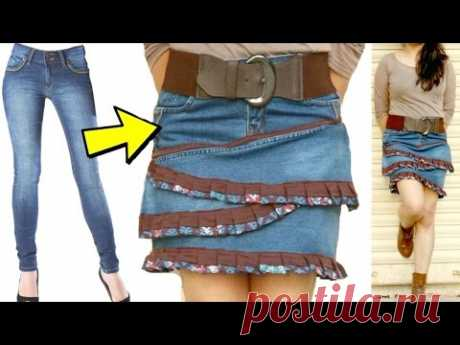 Turn your old Jeans into Skirt | Ruffle Skirt from Old Jeans