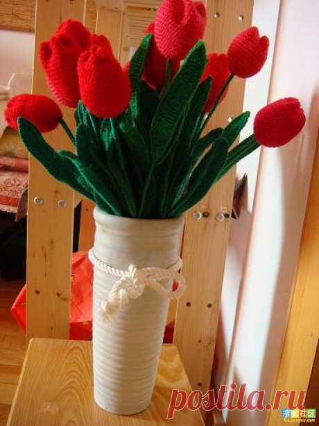 Яркие вязанные тюльпаны, МК — Делаем руками