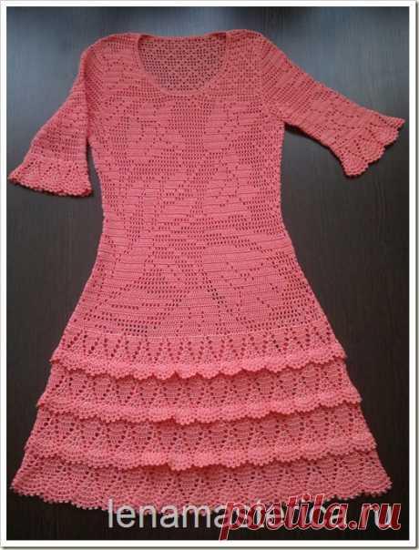 Вязание для женщин. Платье крючком Тюльпаны