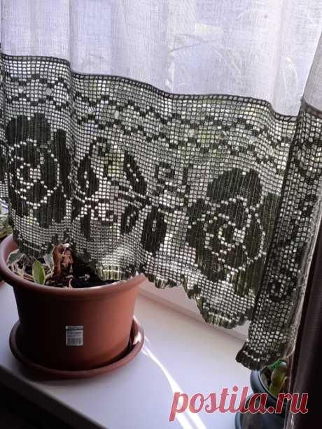 Розы филейка на окне из категории Мои работы – Вязаные идеи, идеи для вязания
