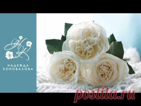 """Как сделать пионовидные розы из фоамирана. Мастер-класс из серии """"Зимний Вальс""""."""