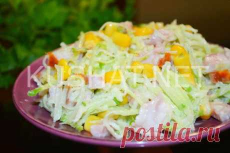 Салат из редьки с кукурузой и ветчиной. Пошаговый рецепт с фото - Кушать нет