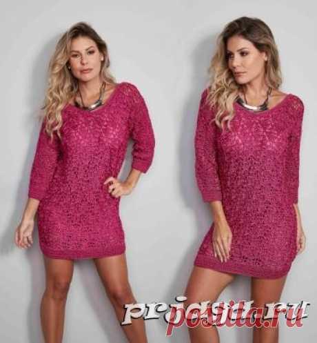 Платье «Розовый ажур» крючком
