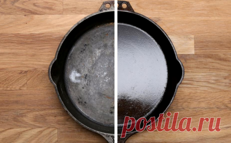 Свекровь показала, как можно очистить чугунную сковороду от нагара с помощью мусорного пакета   Полезный журнал   Яндекс Дзен