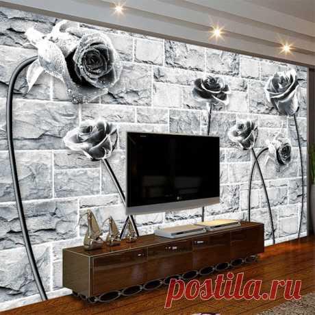 Прохладный черный, белый цвет роза на кирпич обои фото 3d номер природных росписи обоев рулоны для 3D стены гостиной Спальня Настенный декор купить на AliExpress