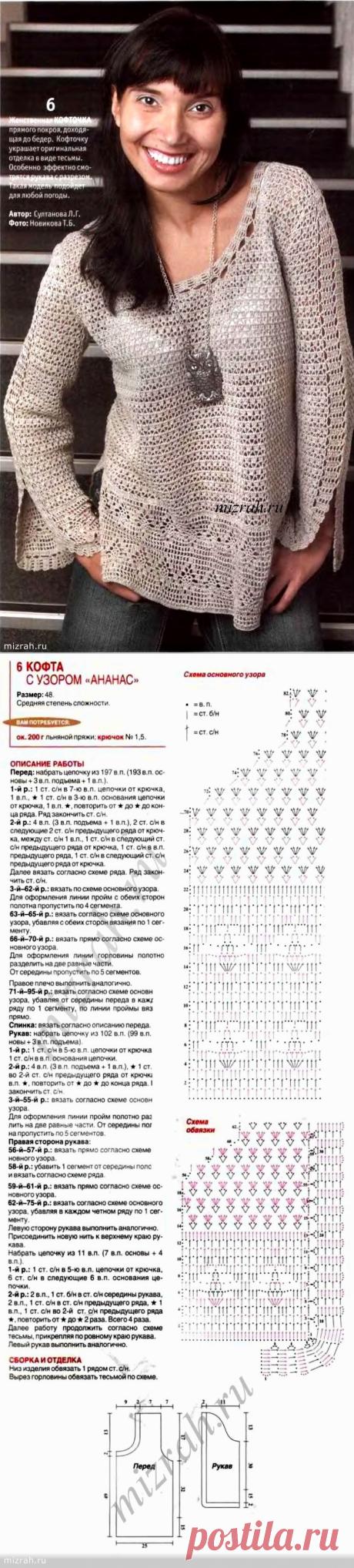 Из любимых моделей: блуза-туника крючком