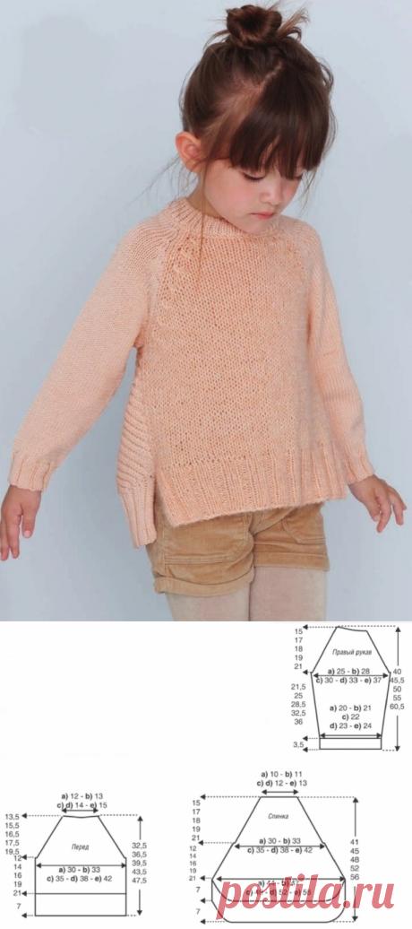 Пуловер для девочки спицами - свитера для девочек вязаные спицами