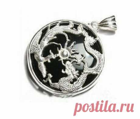 """Бесплатная доставка довольно черный нефрит серебряный дракон феникс ожерелье 18 """" купить на AliExpress"""