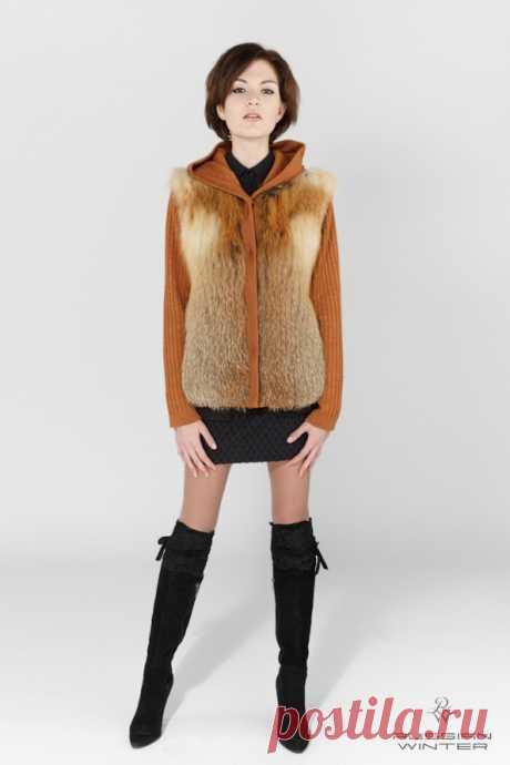 Куртка-жилет меховая женская ЖК-2 лиса красная, трикотаж - купить в Москве по выгодной цене
