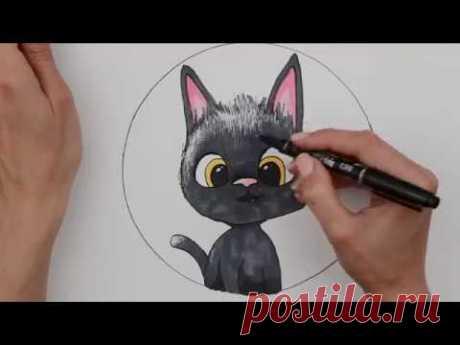 Рисуем чёрного котёнка с именем Рудольф. Жил был кот. (Рисунок 7)