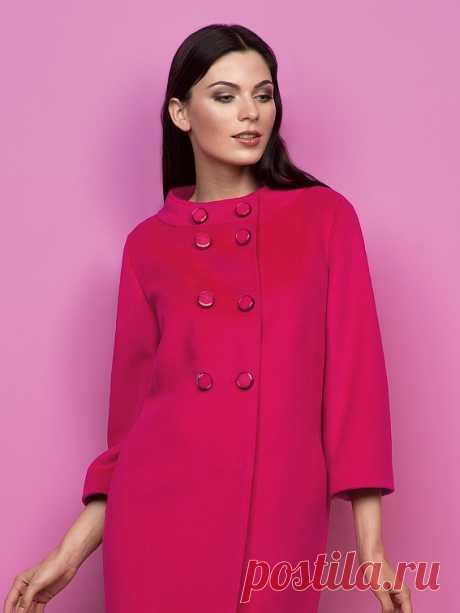 Пальто женское демисезонное цвет ягодный, Ворс, артикул 3014720p00019