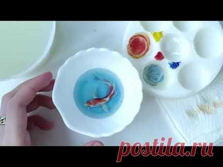 3D рыбки и черепашка в эпоксидной смоле.