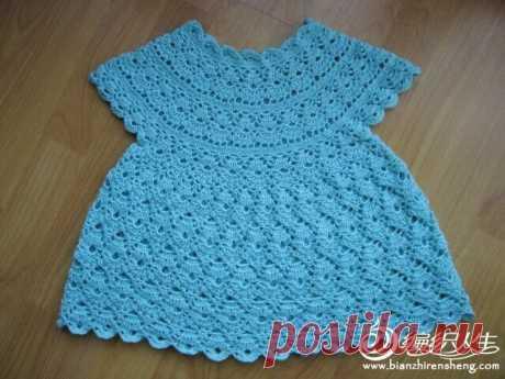 Вяжем платьице для малышки крючком. Платье для девочки узором ракушки. | Домоводство для всей семьи.