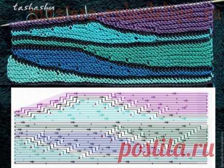 Мастер-класс по вязанию спицами укороченных рядов: Волны из остатков пряжи