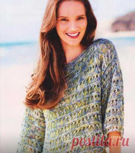 Укороченный меланжевый пуловер схема спицами