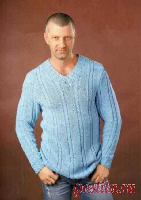 Мужской пуловер с косами  Мужской пуловер с косами связанный на спицах в голубых тонах. Великолепная одежда для дома на любой вкус. Вязаный пуловер спицами схемы и описание вязания.Размеры: XL-XXLМатериалы: пряжа Alpina Lexi (50% хлопок, 50% акрил, 230 м/100 г) - 450 г светло-синего цвета, спицы №3,5; 3; 2,5; 2,