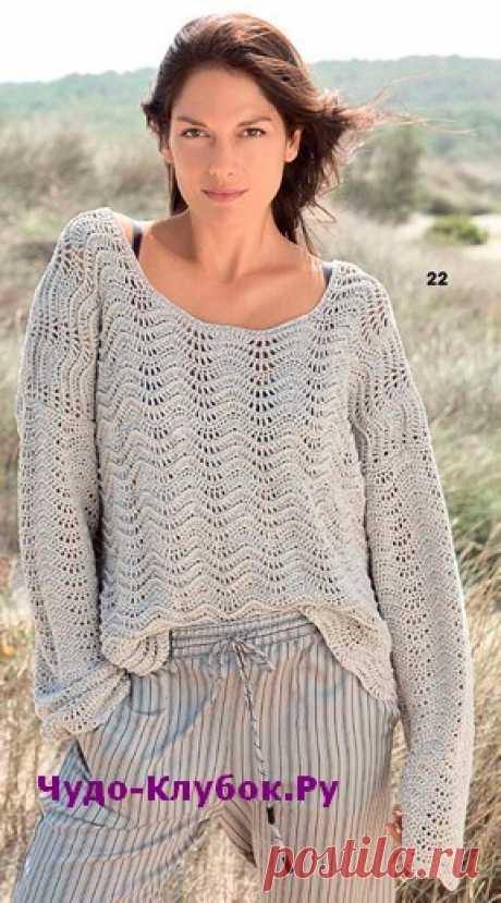 Пуловер с волнистым узором вязаный крючком 1859 | ✺❁сайт ЧУДО-клубок ❣ ❂✺Вязаный пуловер с супердлинными рукавами и красивым волнистым узором выполнен из вискозно-льняной пряжи очень модного серого оттенка. ❂ ►►➤6 000 ✿моделей вязания ❣❣❣ 70 000 узоров►►Заходите❣❣ %