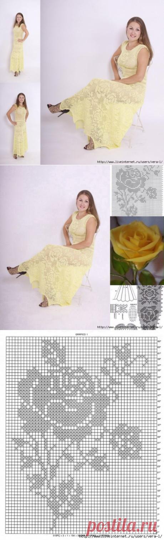 Платье (филейное вязание). Автор Екатерина Кормильцева