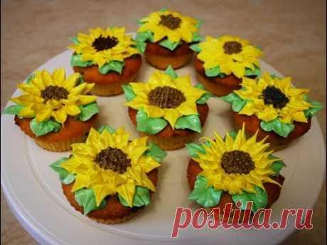 Украшение БЕЗ НАСАДОК Мастер класс по цветку ПОДСОЛНУХ цветы из КРЕМА