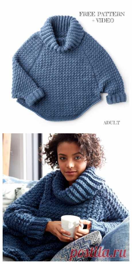 Связанный крючком свитер-пуловер