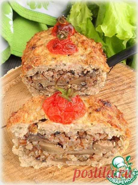 Гречнево-грибная запеканка в мясном хлебе - кулинарный рецепт