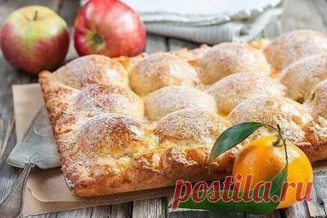 Пирог из творожного теста с яблоками. Делюсь с вами одним из своих любимых яблочных пирогов, давно проверен