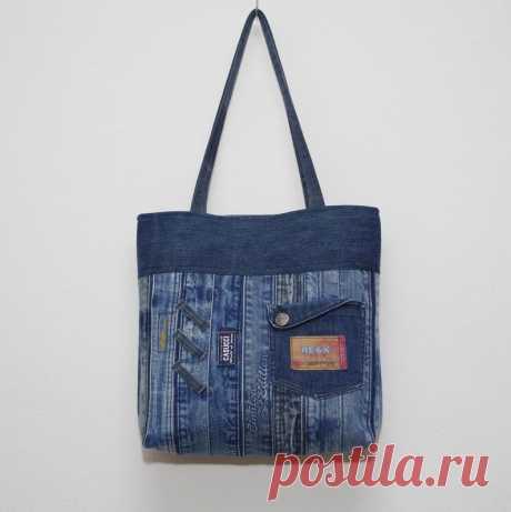 Джинсовая сумка плечо мешок ручной работы 100% переработаны   Etsy